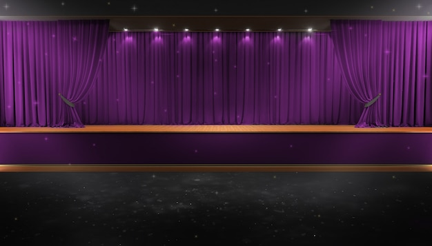 Purple curtain and a spotlight. festival night show poster