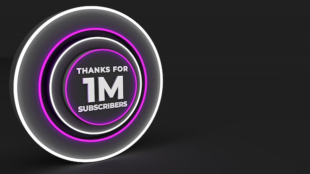 백만 가입자 감사의 보라색 디지털 디자인 배경