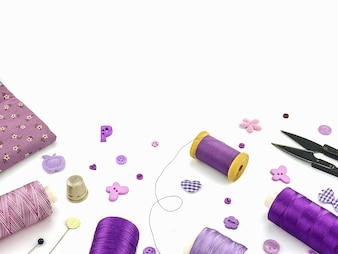 Purple embroidery set over white background