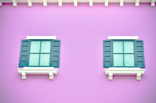 Purple facade of house