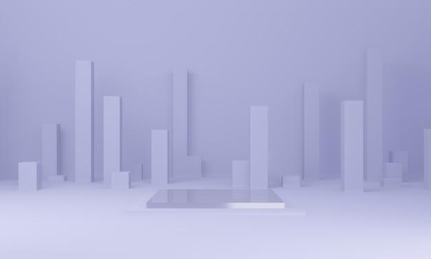 Фиолетовый постамент для показа мод. геометрический.