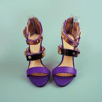 Purple female shoes on high heels