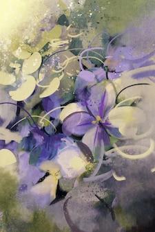 グランジテクスチャの紫色の花