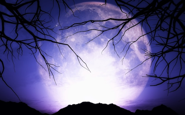 月でハロウィーンの風景のレンダリング3d