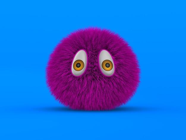 青い背景に紫色の毛皮のようなモンスター。分離された3dイラスト