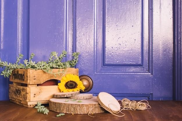 Decorazione giardinaggio viola con girasole