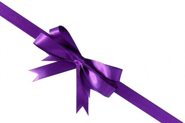 Фиолетовый подарок ленты лук угол диагонали, изолированные на белом.