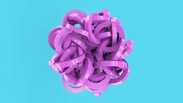 紫色の光沢のある抽象的な球。青い背景、3dレンダリング。