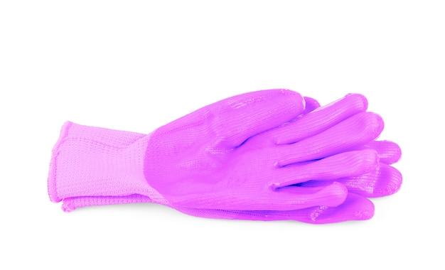 白い背景の上の紫色の手袋