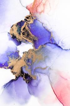 종이에 대리석 액체 잉크 아트 그림의 보라색 금 추상적인 배경.
