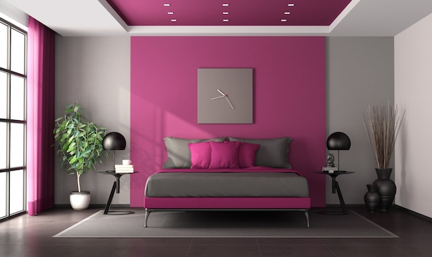Purple and gray master bedroom