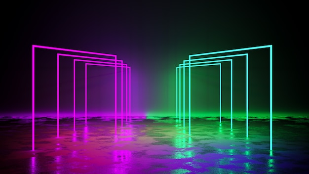 Purple and green neon light  with blackground, and concrete floor, 3d render