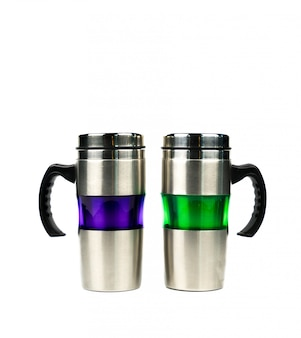 Purple and green thermos bottle with handle isolated on white background with copy space
