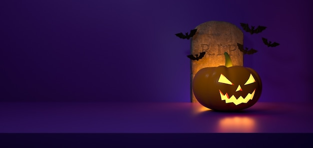 Purple halloween background. grave and bats flying and a pumpkin with light. 3d rendering.