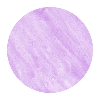 Purple hand drawn watercolor circular frame background texture with stains