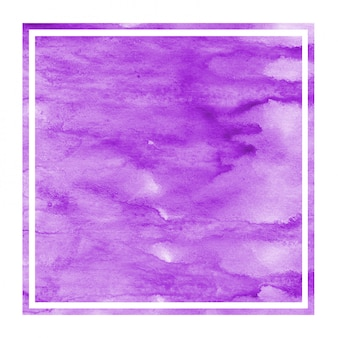 Purple hand drawn watercolor rectangular frame texture with stains