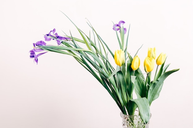 Purple irises and yellow tulips in a vase