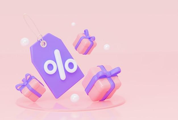 Фиолетовый ярлык, перевязанный золотым знаком процента и летающими подарками, 3d-рендеринг