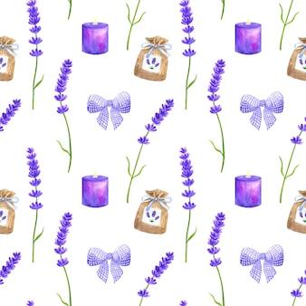 紫色のラベンダーの花、紫色の弓、小袋、燃えるろうそく。プロヴァンススタイルのシームレスパターン。手描きの水彩イラスト。