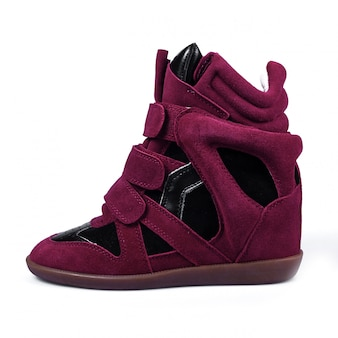 Purple leather platform sneaker