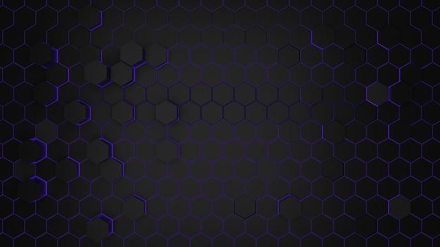 紫の光の抽象的な六角形の背景