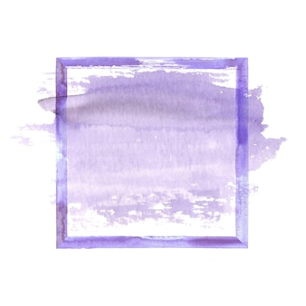 Purple lilac violet watercolor grunge frame with watercolor stain