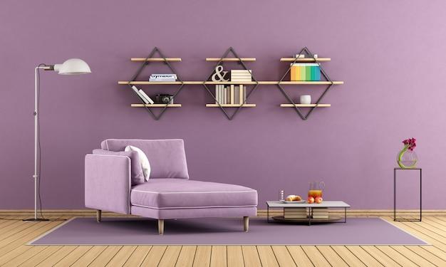 Фиолетовая гостиная с шезлонгом и полками