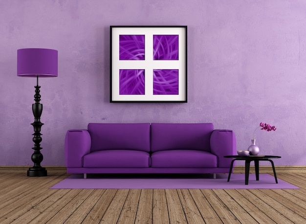 紫のリビングルーム