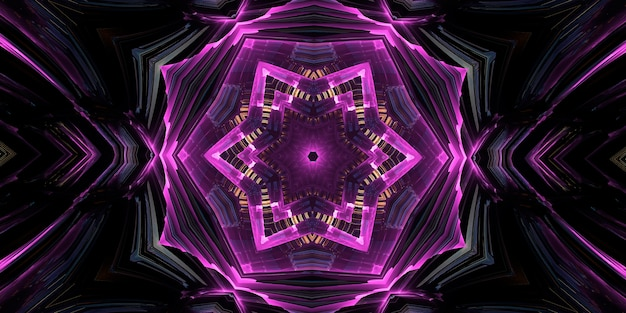 Purple magic kaleidoscope. the device of the universe, crescent moon and sun with a face on a black background. magic kaleidoscope