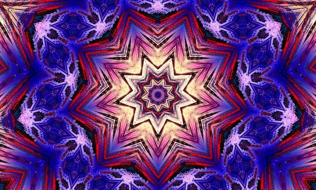 紫の魔法の万華鏡。黒い背景に顔をした宇宙、三日月と太陽の装置。魔法の万華鏡