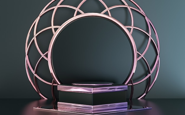 Purple metallic podium display with abstract geometric shape for product presentation 3d rendering