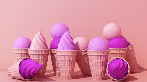 ピンク色の背景に甘いウエハースコーンと紫のミルクアイスクリームミニマルコンセプト3dレンダリング