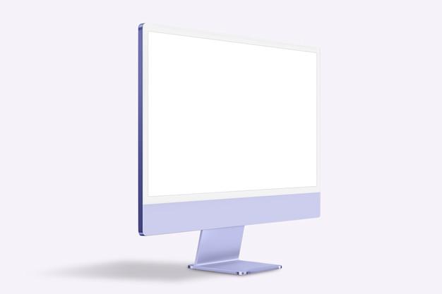 디자인 공간이 있는 보라색 최소 컴퓨터 데스크탑 화면 디지털 장치