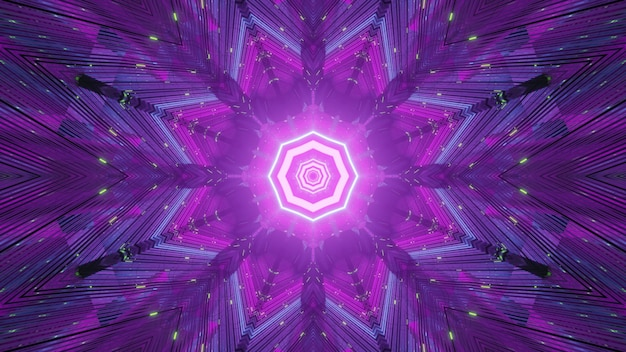 Purple neon illumination of glowing endless tunnel with glowing lights background