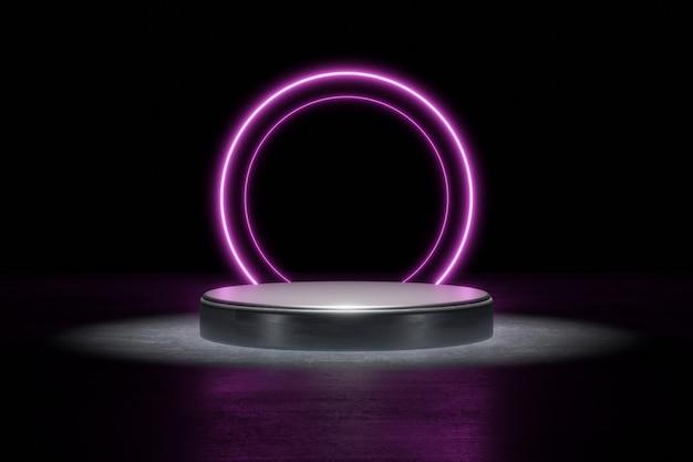 紫色のネオンライト製品の背景ステージまたはグロースポットのあるグランジストリートフロアの表彰台台座