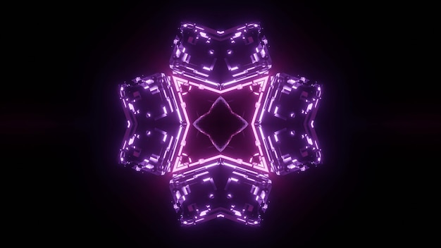 Purple neon lights forming symmetric ornament in darkness background