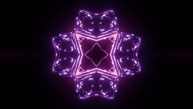 Purple neon lights forming symmetric ornament in darkness background Premium Photo