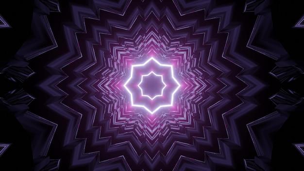 Purple neon tunnel 3d illustration