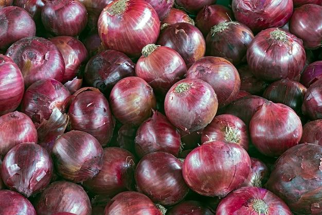 Purple onion on street market stall