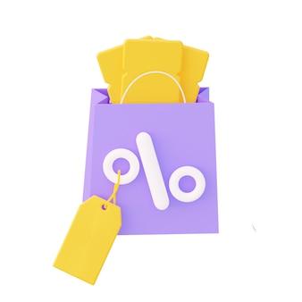 백분율 및 노란색 쿠폰 및 가격 레이블이 있는 보라색 패키지. 3d 렌더링.