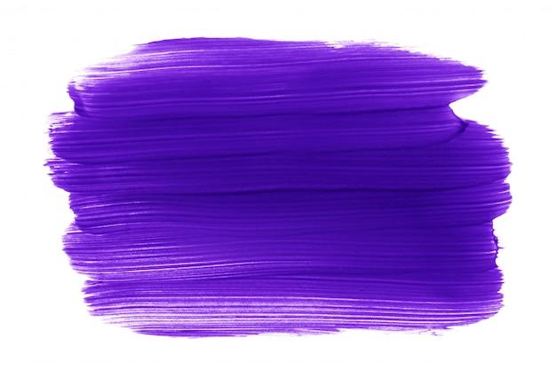 Purple paint or lipstick brush stroke isolated on white