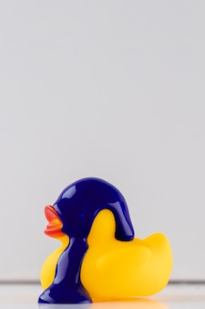 Purple paint on yellow rubber duck