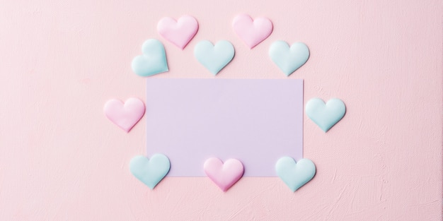 Purple pastel card and hearts on pink banner