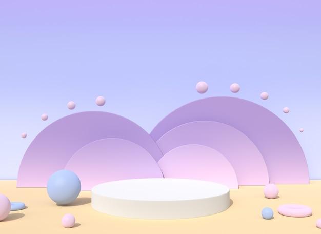 연단과 보라색 파스텔 무대 배경 최소한의 기하학