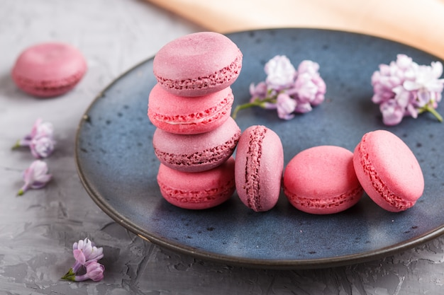 Purple and pink macaron or macaroon cakes on blue ceramic plate on gray concrete background.