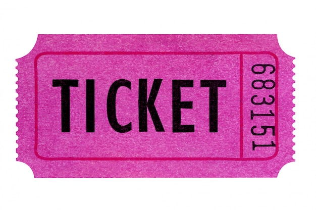 Purple or pink ticket isolated on white.