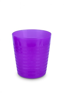 Purple plastic glass isolated on white