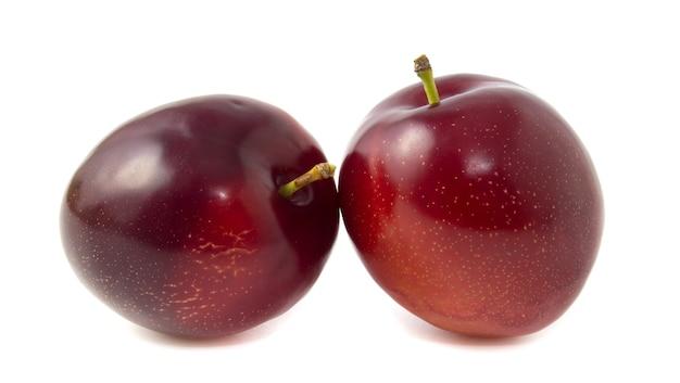 Фиолетовые сливы, изолированные на белом фоне. две целые ягоды с плодоножками.