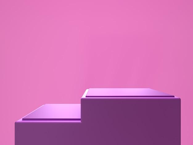 보라색 연단 선반 또는 빈 받침대 디스플레이 최소한의 스타일. 제품 배치를위한 빈 스탠드. 프리미엄 사진 3d 렌더링