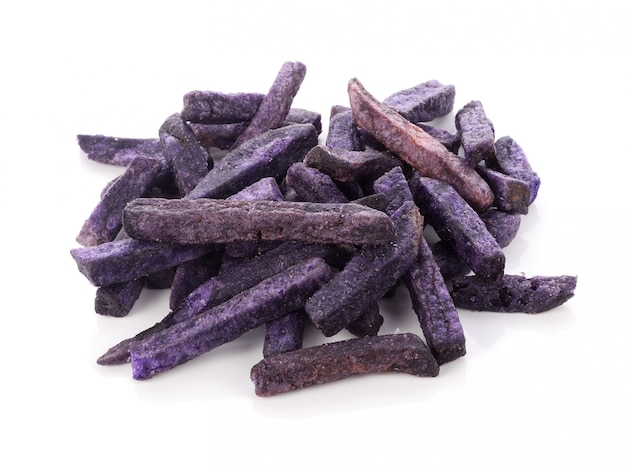 Purple potatoes snack isolate on white background
